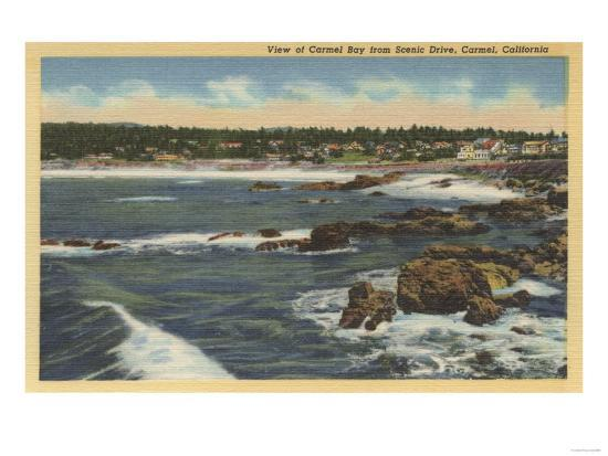 Carmel, California - View of Carmel Bay from Scenic Drive-Lantern Press-Art Print