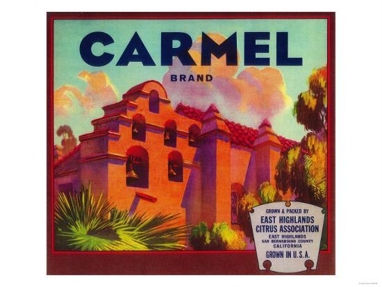 Carmel Orange Label - East Highlands, CA-Lantern Press-Art Print