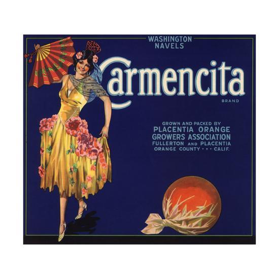 Carmencita Brand - Fullerton, California - Citrus Crate Label-Lantern Press-Art Print