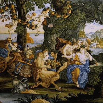 Bacchus and Ariadne, Decorative Detail from Storied Tile