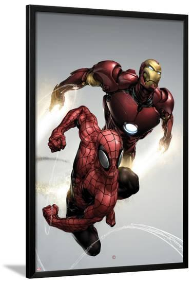 Carnage No.1 Cover: Spider-Man and Iron Man Flying-Clayton Henry-Lamina Framed Poster