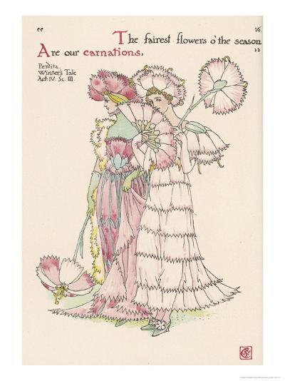 Carnations Personified-Walter Crane-Giclee Print