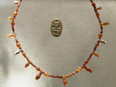 Carnelian Necklace and Gold Ring Dedicated to Ramesses II--Giclee Print