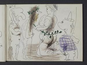 "Carnet 58, folio 21 recto; ""Caricatures: femme nue et satyres"""
