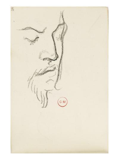 Carnet de dessins : étude de visage d'homme barbu de trois-quarts les yeux clos-Gustave Moreau-Giclee Print