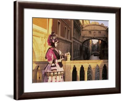 Carnival Costume and the Bridge of Sighs, Venice, Veneto, Italy-Simon Harris-Framed Photographic Print