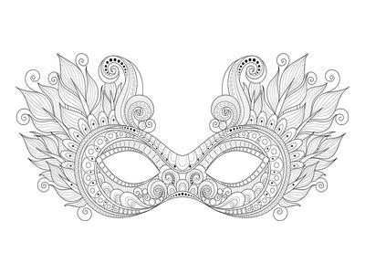 Carnival Floral Mask Feathers Coloring Art--Coloring Poster
