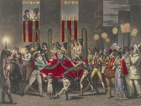 Carnival in Rome, Festival of the Moccoletti (Tapers), Italy, 19th Century--Giclee Print