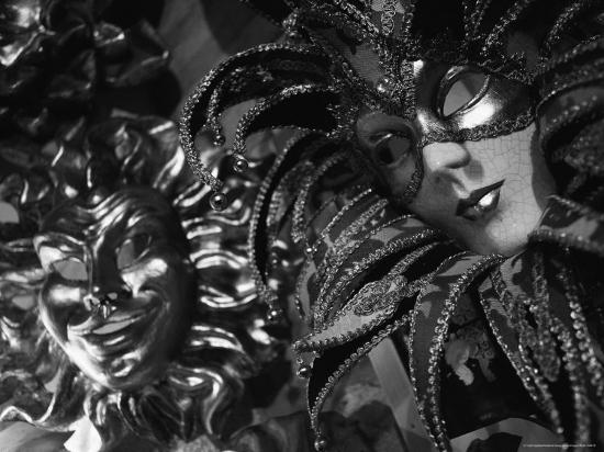 Carnival Masks in Black and White Displayed on a Wall in Venice-Todd Gipstein-Photographic Print