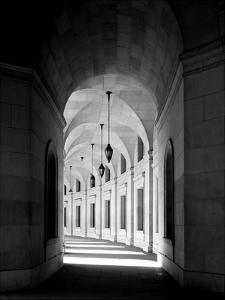 Arched architectural detail in the Federal Triangle located in Washington, D.C. - Black and White V by Carol Highsmith