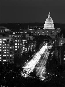 Dusk view of Pennsylvania Avenue, America's Main Street in Washington, D.C. - Black and White Varia by Carol Highsmith