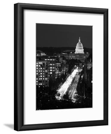 Dusk view of Pennsylvania Avenue, America's Main Street in Washington, D.C. - Black and White Varia