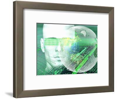 Biomedical Illustration of Man in a Digital World