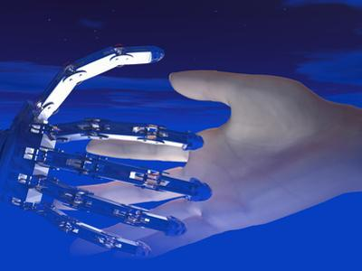 Biomedical Illustration of Robot and Human Hands Reaching Out by Carol & Mike Werner