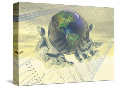 Earth Held in Digital Hands