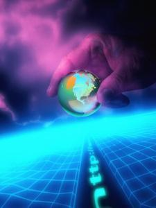 Hand and E-Commerce Globe in Cyberspace by Carol & Mike Werner
