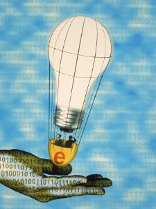 Hand with Light Bulb Hot Air Balloon and Binary Code by Carol & Mike Werner