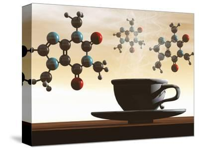 Illustration of Molecular Models of Caffeine with a Cup of Coffee