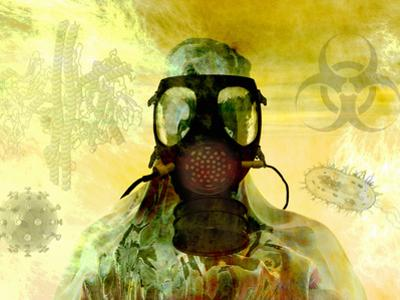 Illustration of Risk, Showing a Person in Hazardous Materials Suit and Face Mask by Carol & Mike Werner