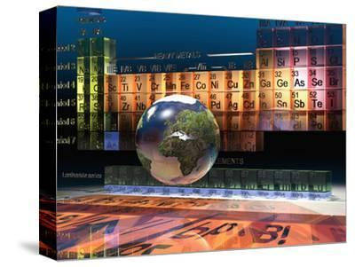 Illustration of the Building Blocks of the Earth, the Periodic Table of the Elements, and a Globe