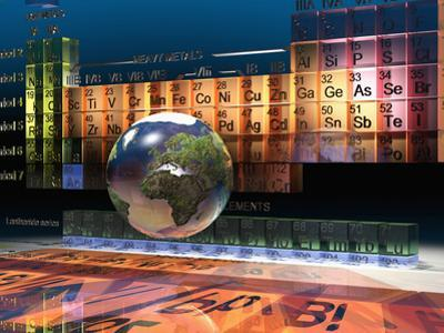 Illustration of the Building Blocks of the Earth, the Periodic Table of the Elements, and a Globe by Carol & Mike Werner