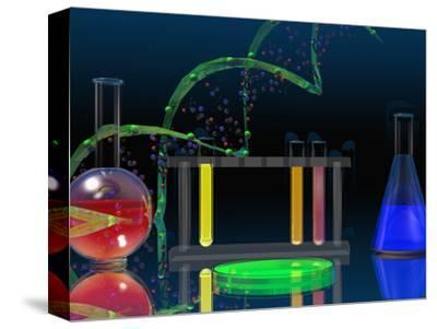 Illustration of the DNA Molecule and Laboratory Glassware