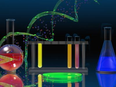 Illustration of the DNA Molecule and Laboratory Glassware by Carol & Mike Werner