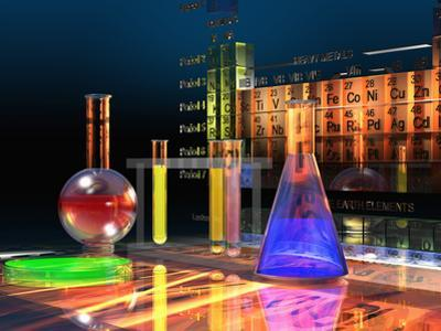 Illustration of the Periodic Table of the Elements Made from Glass Blocks with Laboratory Glassware by Carol & Mike Werner