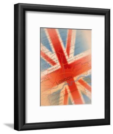 Map Highlighting London and British Flag