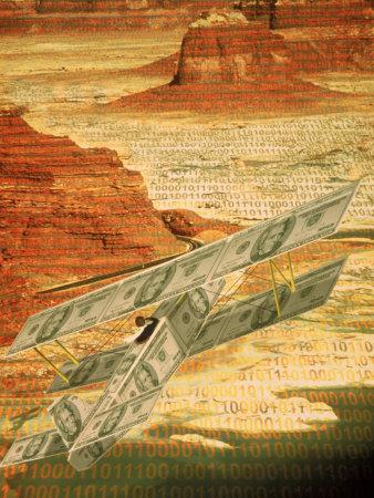 Money Plane Flying Over Landscape with Binary Code