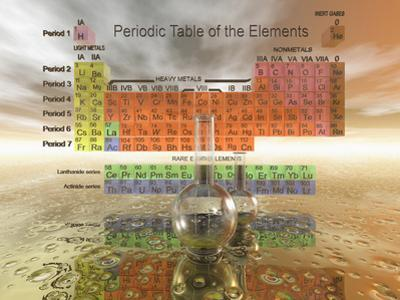 Periodic Table of the Elements with Chemistry Glassware