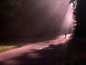 Person Walking Down Rural Road by Carol & Mike Werner