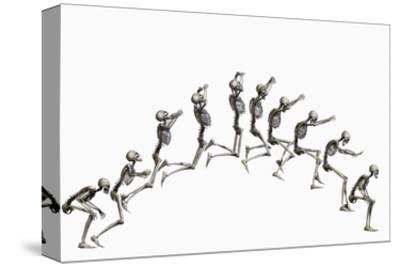 Sequence Illustrating a Human Skeleton Jumping