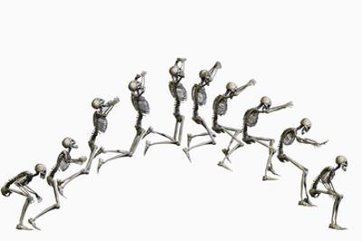 Sequence Illustrating a Human Skeleton Jumping by Carol & Mike Werner