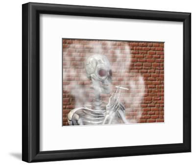 Skeleton Smoking a Cigarette
