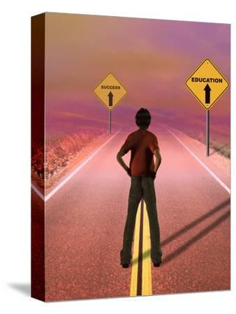 Teenage Boy Looking Down a Road Toward a Future Where Education Leads to Success
