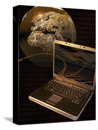 Worldwide Digital Communication Illustrated with a Notebook Computer, a Globe, and Binary Code