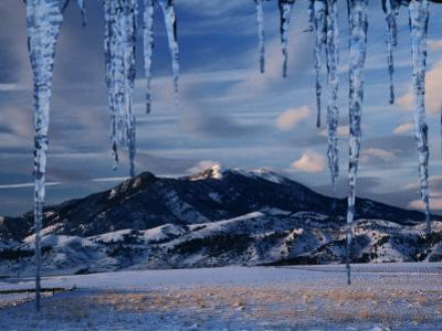 Icicles Hanging in Front of Mountain, Bridger Mountains, Gallatin Valley, USA