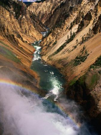 Overhead of Valley and River from Brink of Waterfall, Yellowstone National Park, USA