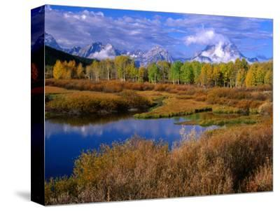 Trees and Lake During Autumn with Mt. Moran in Distance, Grand Teton National Park, USA
