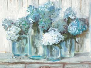 Hydrangeas in Glass Jars Blue by Carol Rowan