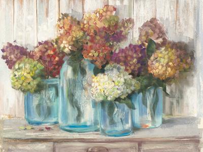 Hydrangeas in Glass Jars White Wood