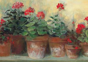 Kathleens Geraniums Crop by Carol Rowan