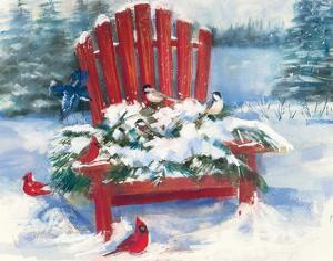 Red Chair in Winter by Carol Rowan