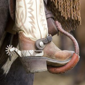 Close-Up of Cowboy Boot and Spurs at Sombrero Ranch, Craig, Colorado, USA by Carol Walker