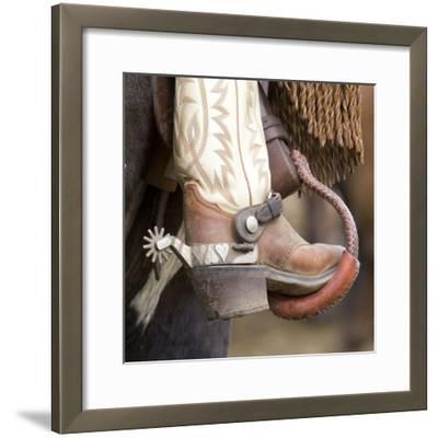 Close-Up of Cowboy Boot and Spurs at Sombrero Ranch, Craig, Colorado, USA