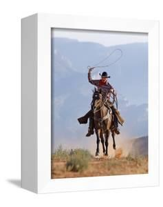 Cowboy Running with Rope Lassoo in Hand, Flitner Ranch, Shell, Wyoming, USA by Carol Walker