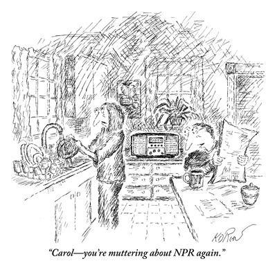 """Carol?you're muttering about NPR again."" - New Yorker Cartoon-Edward Koren-Premium Giclee Print"