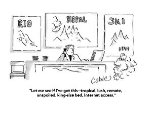 """""""Let me see if I've got this?tropical, lush, remote, unspoiled, king-size ?"""" - Cartoon by Carole Cable"""