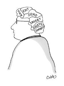 Man's brain is divided into these sections: View, Edit, Send, Insert, Dele? - Cartoon by Carole Cable